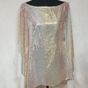 Sequin White & Gold Loose Women's Blouse Dress S/M